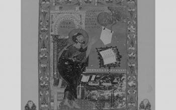 Євангеліст Лука. Мініатюра з Остромирового Євангелія. 1056-1057