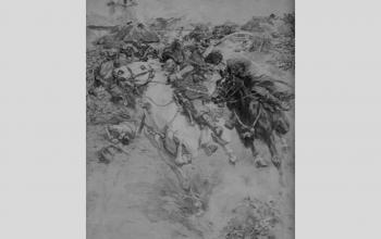 """Картина """"Бій Богуна з Чернецьким під Монастирищем в 1653 р."""".  1931. М.Самокиш"""