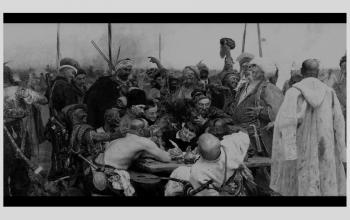"""Картина """"Запорожці пишуть листа турецькому султанові"""". 1880-1891. І.Рєпін"""