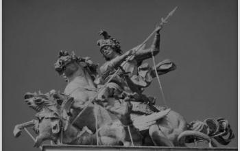 Скульптурна група святого Юрія змієборця на фасаді собору святого Юра у Львові. Скульптор Й.  Пінзель